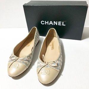 Chanel | Metallic Tweed Cap Toe Ballerina Flats